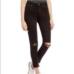 Levi's Wedgie Skinny Ripped Black Jeans
